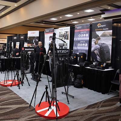 So many tripods, cases, bags and other photographic accessories at the Gentec booth!